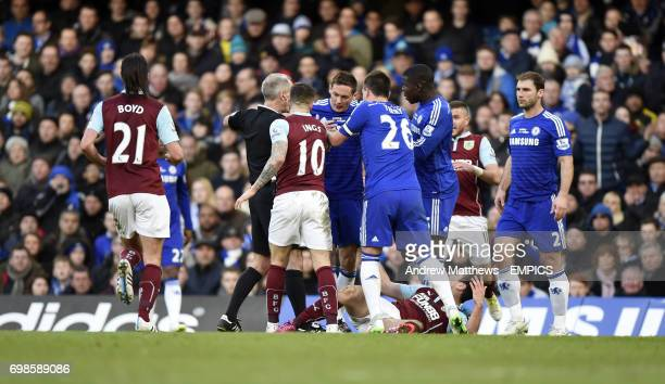 Chelsea's Nemanja Matic is held back as tempers flare with Burnley's Ashley Barnes