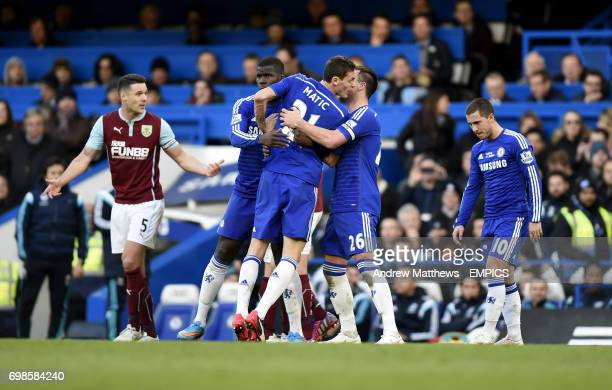 Chelsea's Nemanja Matic reacts after he is shown a red card by referee Martin Atkinson