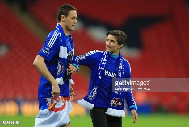 Chelsea's Nemanja Matic with Chelsea manager Jose Mourinho's Son Jose Mario Mourinho Jr