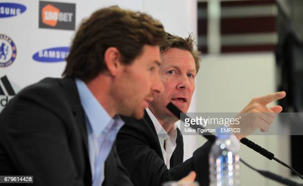 Chelsea's new head coach Andre VillasBoas and Chelsea's head of communications Steve Atkins at todays press conference