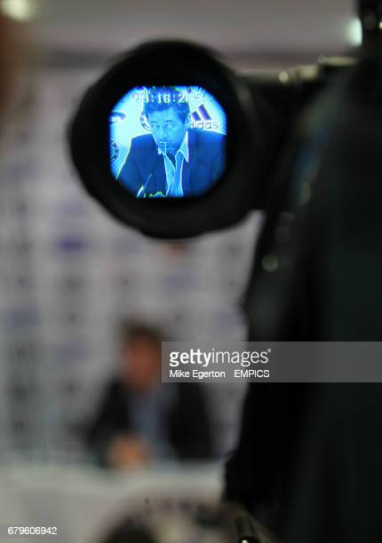 Chelsea's new head coach Andre VillasBoas seen through the eye piece of a TV Camera at todays press conference