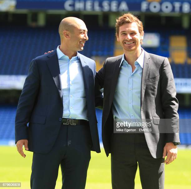 Chelsea's new head coach Andre VillasBoas with assistant first team coach Roberto Di Matteo at todays press conference