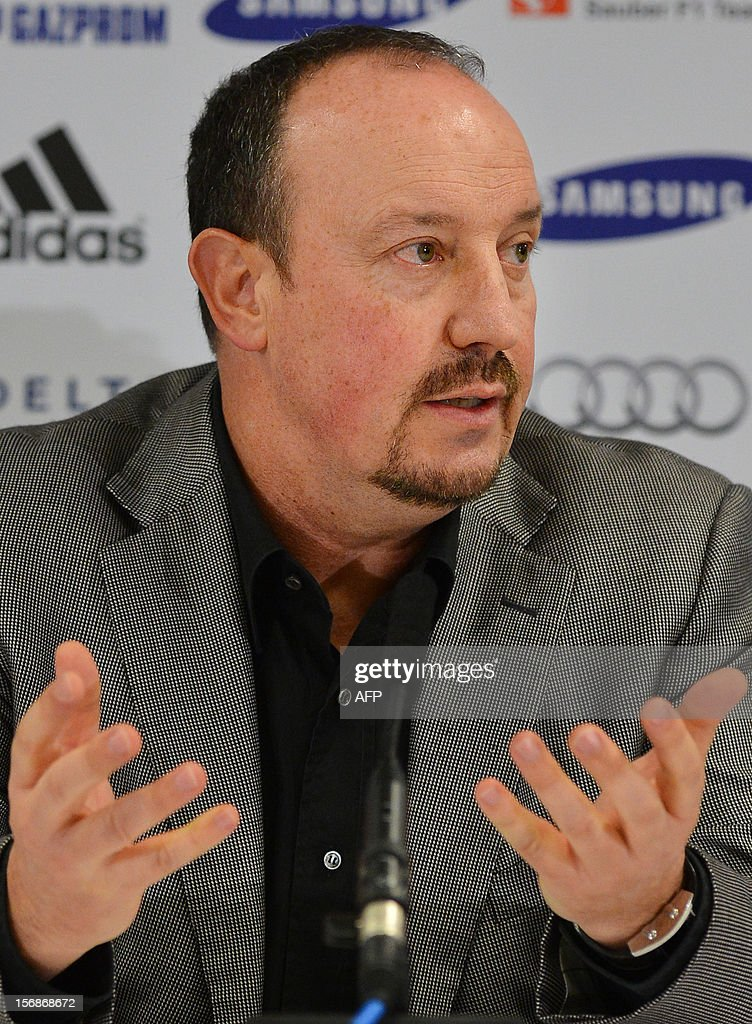 Chelsea's new interim manager Spain's Rafael Benitez gestures as he speaks during a press conference at Stamford Bridge in London on November 22, 2012. Benitez tried to overcome hostility from Chelsea fans angry with his appointment as interim manager by insisting both he and they wanted the same things. The Spaniard started life with the European champions on November 22 after the London club sacked its Italian manager Roberto di Matteo.