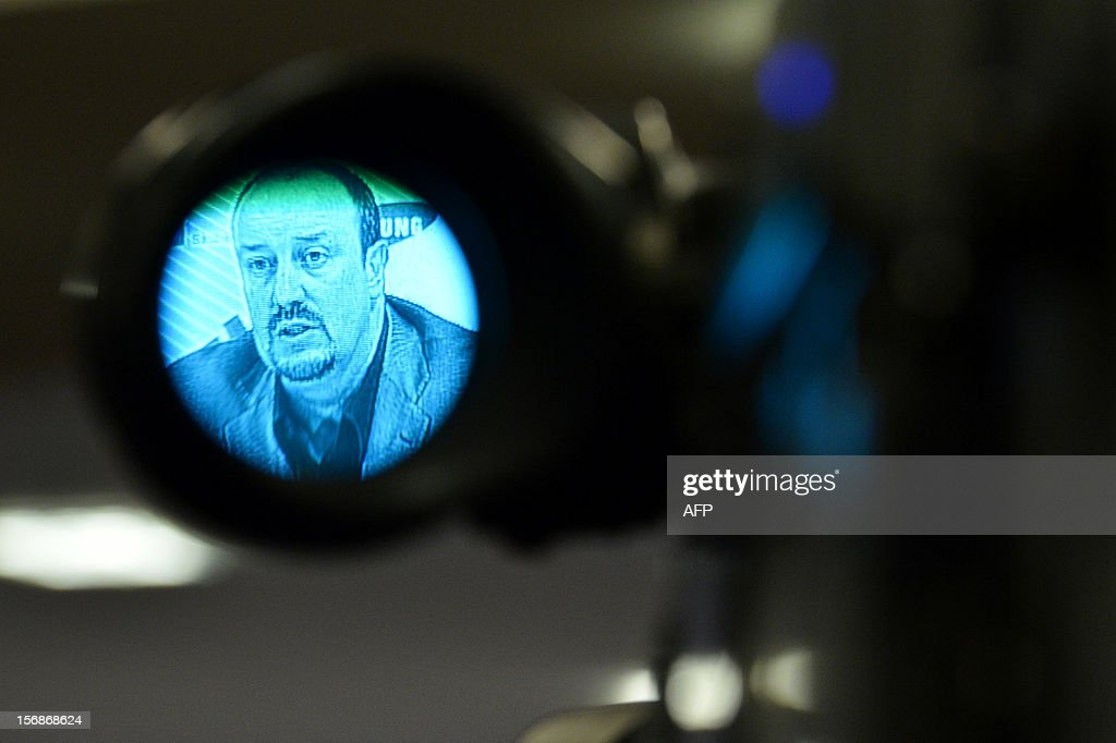 Chelsea's new interim manager Spain's Rafael Benitez is seen in a television camera view-finder during a press conference at Stamford Bridge in London on November 22, 2012. Benitez tried to overcome hostility from Chelsea fans angry with his appointment as interim manager by insisting both he and they wanted the same things. The Spaniard started life with the European champions on November 22 after the London club sacked its Italian manager Roberto di Matteo.