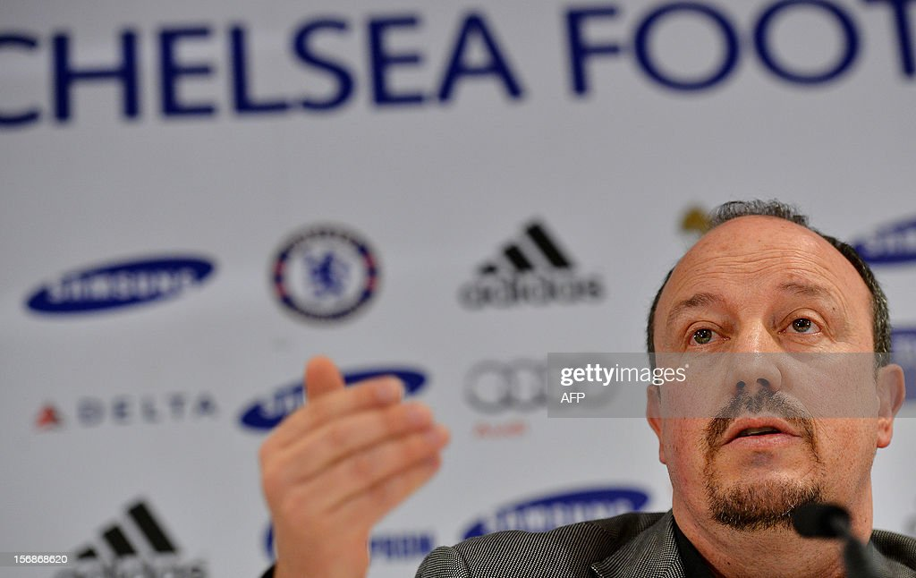 Chelsea's new interim manager Spain's Rafael Benitez speaks during a press conference at Stamford Bridge in London on November 22, 2012. Benitez tried to overcome hostility from Chelsea fans angry with his appointment as interim manager by insisting both he and they wanted the same things. The Spaniard started life with the European champions on November 22 after the London club sacked its Italian manager Roberto di Matteo.