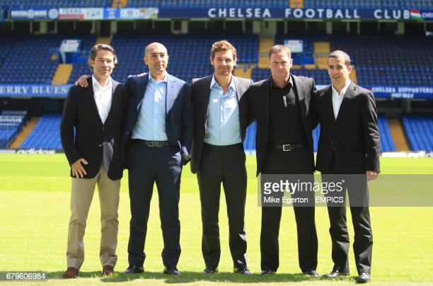 Chelsea's new manager Andre VillasBoas assistant first team coach Roberto Di Matteo fitness expert Jose Mario Rocha and assistant first team coach...