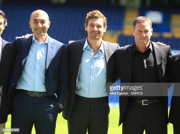 Chelsea's new manager Andre VillasBoas assistant first team coach Roberto Di Matteo and assistant first team coach Steve Holland during the press...