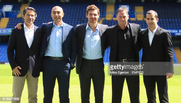 Chelsea's new manager Andre VillasBoas assistant first team coach Roberto Di Matteo fitness expert Jose Mario Rocha assistant first team coach Steve...