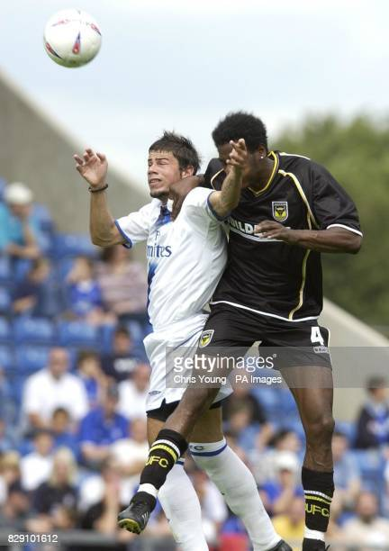 Chelsea's new signing Mateja Kezman battles with Oxford's Leo Roget during the preseason friendly match at Kassam Stadium Oxford THIS PICTURE CAN...