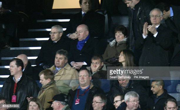 Chelsea's new temporary head coach Guus Hiddink club owner Roman Abramovich and girlfriend Daria Zhukova and chairman Bruce Buck