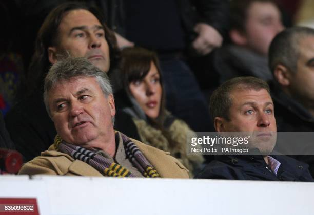 Chelsea's new temporary head coach Guus Hiddink with club owner Roman Abramovich in the stands