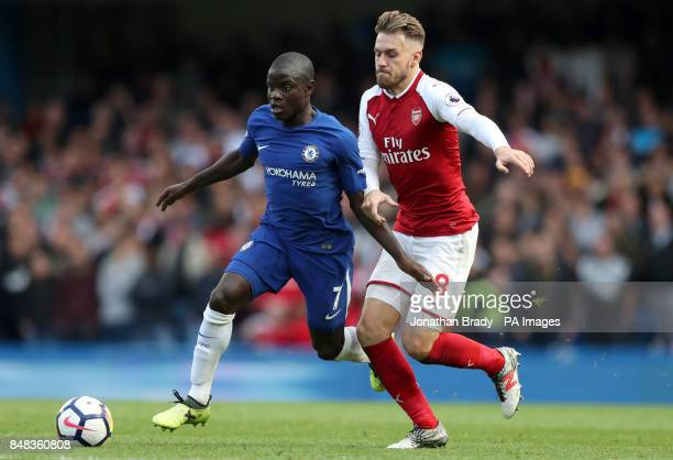 Chelsea's N'Golo Kante and Arsenal's Aaron Ramsey battle for the ball during the Premier League match at Stamford Bridge London