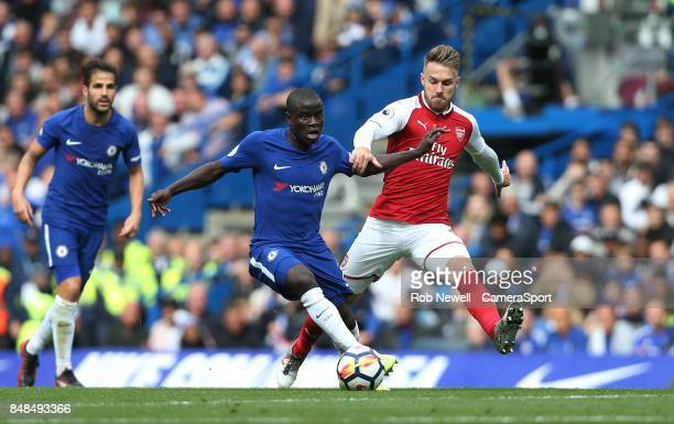 Chelsea's Ngolo Kante and Arsenal's Aaron Ramsey during the Premier League match between Chelsea and Arsenal at Stamford Bridge on September 17 2017...