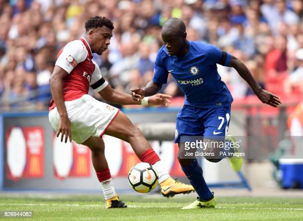 Chelsea's Ngolo Kante and Arsenal's Alex Iwobi battle for the ball during the Community Shield at Wembley London