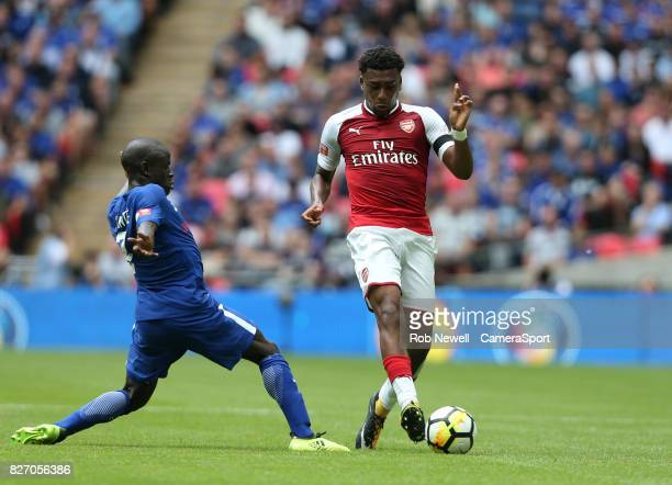 Chelsea's N'Golo Kante and Arsenal's Alex Iwobi during the FA Community Shield match between Arsenal and Chelsea at Wembley Stadium on August 6 2017...