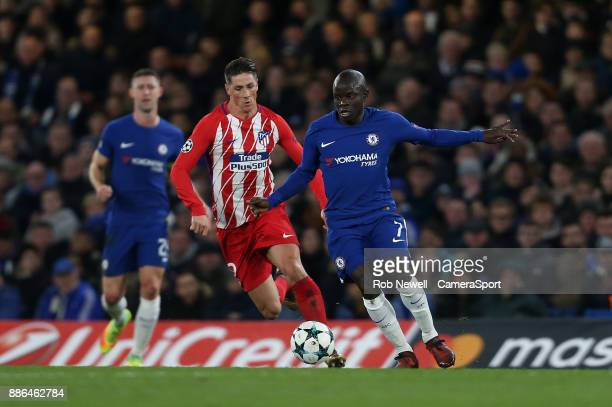 Chelsea's Ngolo Kante and Atletico Madrid's Fernando Torres during the UEFA Champions League group C match between Chelsea FC and Atletico Madrid at...