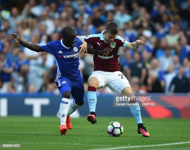 Chelsea's NGolo Kante and Burnley's Johann Berg Gudmundsson battle