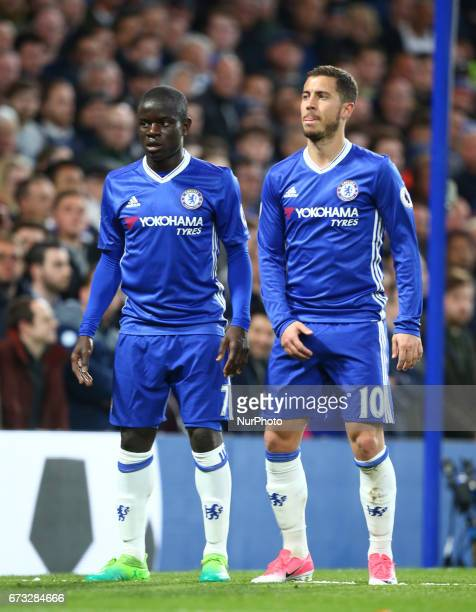 LR Chelsea's N'Golo Kante and Chelsea's Eden Hazard during the Premier League match between Chelsea and Southampton at Stamford Bridge London England...
