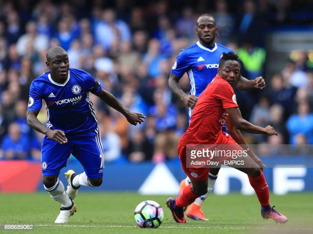 Chelsea's N'Golo Kante and Leicester City's Ahmed Musa battle for the ball