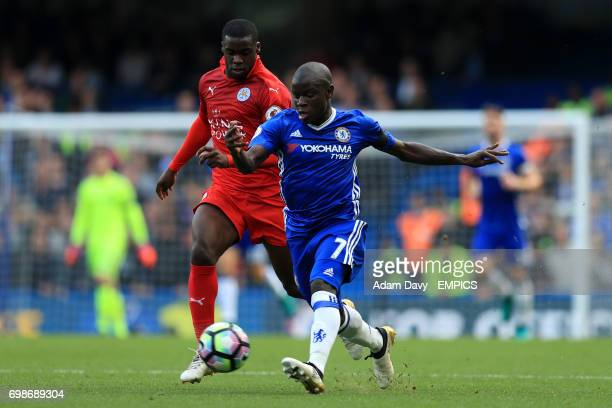 Chelsea's N'Golo Kante and Leicester City's Jeffrey Schlupp battle for the ball