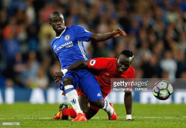 Chelsea's N'Golo Kante and Liverpool's Sadio Mane battle for the ball