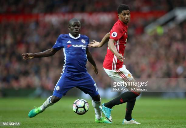 Chelsea's N'Golo Kante and Manchester United's Marcus Rashford battle for the ball during the Premier League match at Old Trafford Manchester