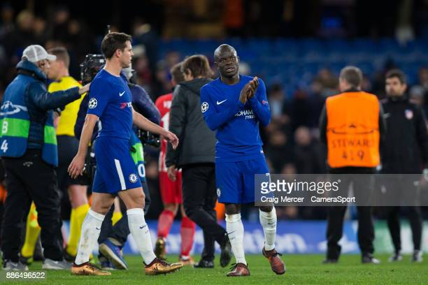 Chelsea's Ngolo Kante applauds the fans at the final whistle during the UEFA Champions League group C match between Chelsea FC and Atletico Madrid at...