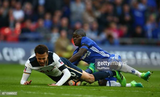 Chelsea's N'Golo Kante brings down Tottenham Hotspur's Dele Alli during The Emirates FA Cup SemiFinal match between Chelsea and Tottenham Hotspur at...
