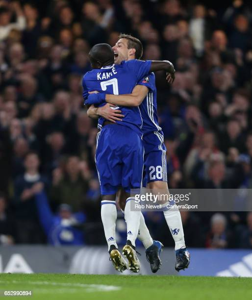 Chelsea's Ngolo Kante celebrates scoring his sides first goal with Cesar Azpilicueta during the Emirates FA Cup QuarterFinal match between Chelsea...
