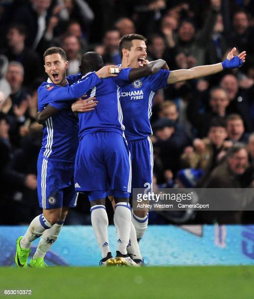 Chelsea's Ngolo Kante celebrates scoring the opening goal with Eden Hazard and Cesar Azpilicueta during the Emirates FA Cup QuarterFinal match...