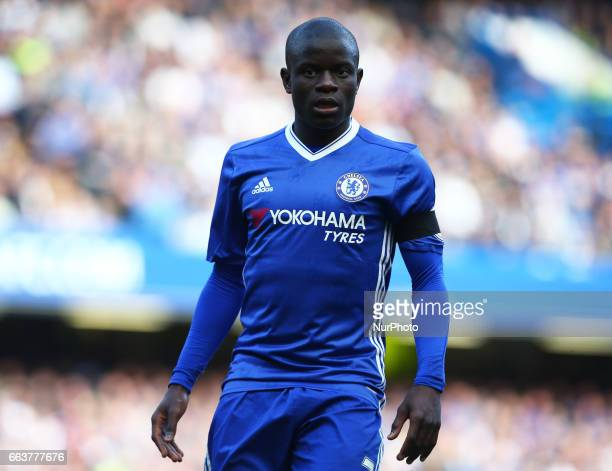 Chelsea's N'Golo Kante during the EPL Premier League match between Chelsea and Crystal Palace at Stamford Bridge London England on 01 April 2017