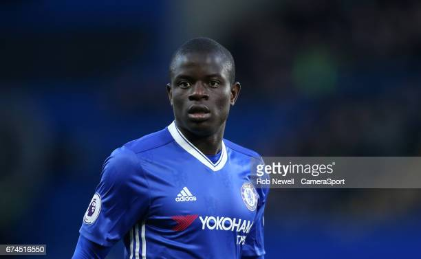 Chelsea's Ngolo Kante during the Premier League match between Chelsea and Southampton at Stamford Bridge on April 25 2017 in London England