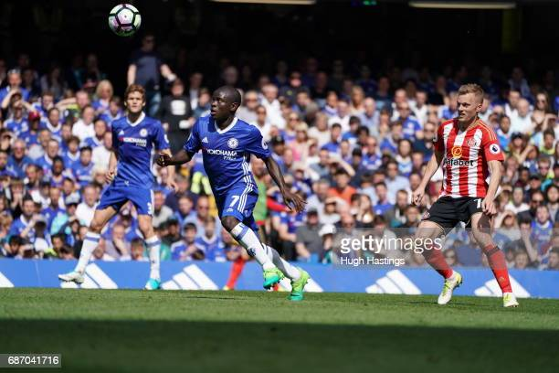 Chelsea's N'Golo Kante during the Premier League match between Chelsea and Sunderland at Stamford Bridge on May 21 2017 in London England