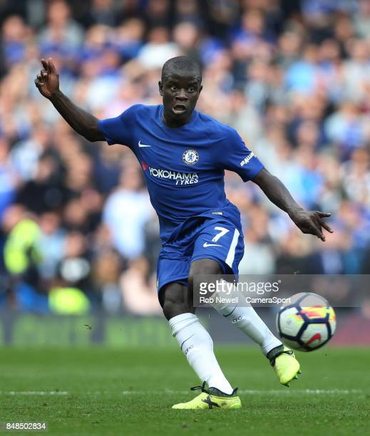 Chelsea's Ngolo Kante during the Premier League match between Chelsea and Arsenal at Stamford Bridge on September 17 2017 in London England