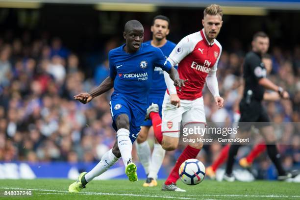 Chelsea's Ngolo Kante in action during the Premier League match between Chelsea and Arsenal at Stamford Bridge on September 17 2017 in London England