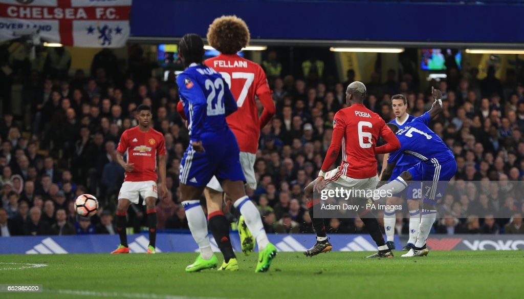 Chelsea's N'Golo Kante scores his sides opening goal during the Emirates FA Cup, Quarter Final match at Stamford Bridge, London.