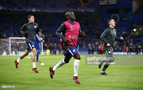 Chelsea's N'Golo Kante warming up before the UEFA Champions League match at Stamford Bridge London