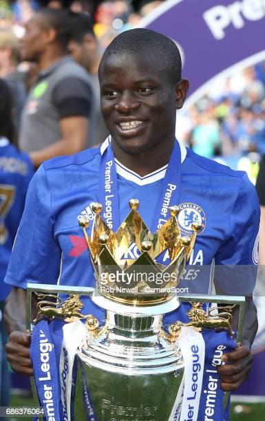 Chelsea's Ngolo Kante with the trophy during the Premier League match between Chelsea and Sunderland at Stamford Bridge on May 21 2017 in London...