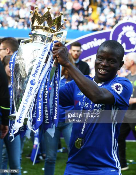 Chelsea's N'Golo Kante with Trophy during the Premier League match between Chelsea and Sunderland at Stamford Bridge London England on 21 May 2017