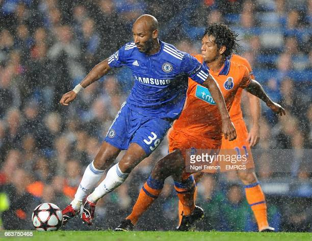 Chelsea's Nicolas Anelka and FC Porto's Eduardo Bruno Alves battle for the ball