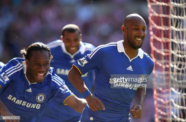 Chelsea's Nicolas Anelka celebrates scoring his sides first goal of the game with teammate Didier Drogba