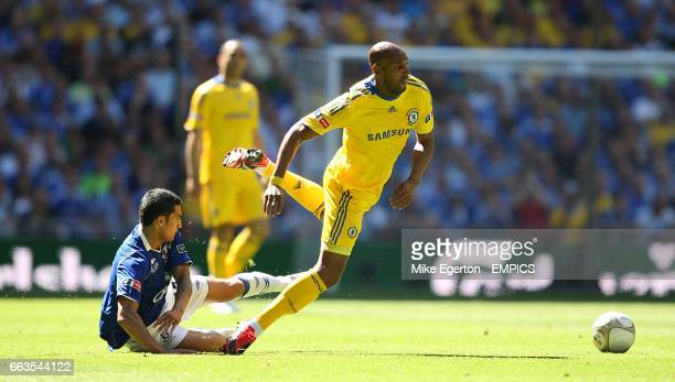 Chelsea's Nicolas Anelka goes to ground after a challenge from Everton's Tim Cahill