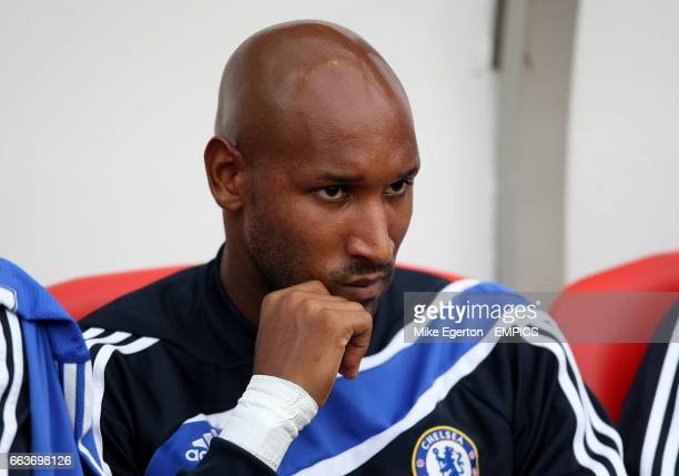 Chelsea's Nicolas Anelka sits on the bench prior to kick off