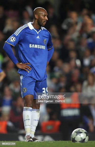 Chelsea's Nicolas Anelka stands dejected after Barcelona's Andres Iniesta scores the equaliser