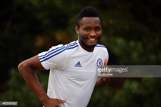 Chelsea's Nigerian midfielder John Mikel Obi attends a team training session at Chelsea's training ground in Stoke D'Abernon south of London on July...