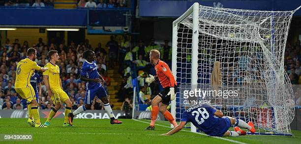 Chelsea's Nigerian midfielder Victor Moses scores their second goal during the English League Cup second round football match between Chelsea and...