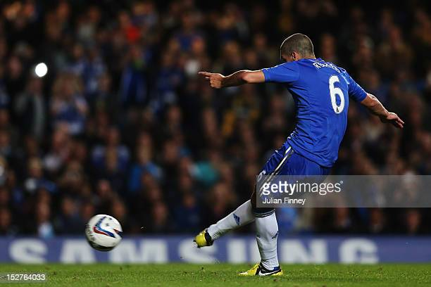 Chelsea's Oriol Romeu scores their forth goal of the match during the Capital One Cup third round match between Chelsea and Wolverhampton Wanderers...