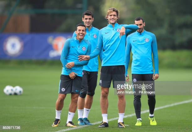 Chelsea's Pedro Chelsea's Alvaro Morata and Chelsea's Marcos Alonso during the training session at Cobham Training Ground