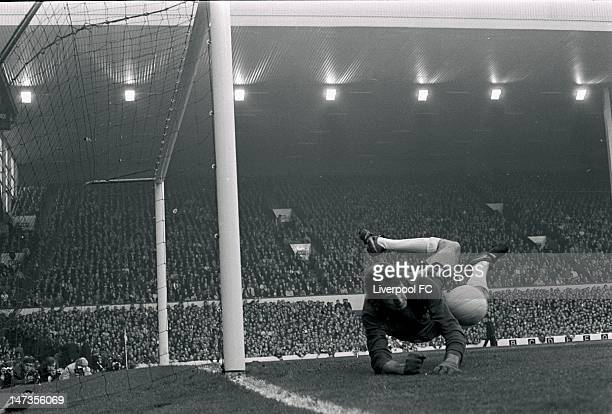 Chelsea's Peter Bonetti makes a save during the Football League Division One match between Liverpool and Chelsea held on October 9 1971 at Anfield in...