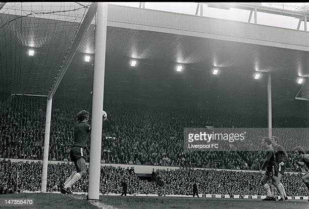 Chelsea's Peter Bonetti makes a save from a shot by John Toshack of Liverpool during the Football League Division One match between Liverpool and...